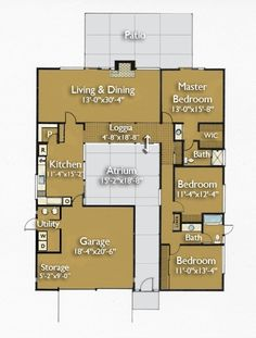 Eichler Floor plan   Just right on center courtyard/living room/ covered area