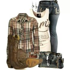 Brown flannel country girl outfit