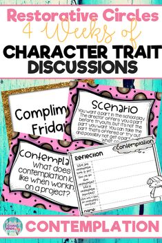 Conduct restorative and community circles in your classroom with these ready to use templates that are full of questions, discussion topics and ideas that can be used during circle time. This product stems around the character trait of contemplation and includes discussion questions, scenarios and/or act it out activities. Click the link below to have your students listening, discussing and learning from each other! #restorativecircles #charactertraits #circletime #charactereducation