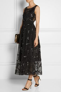THEORY Darro embellished silk-organza midi dress