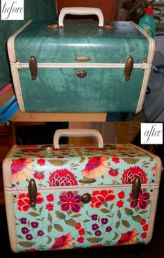 Mod Podge suitcase before and after