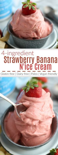 Strawberry Banana N'ice Cream makes for a light and refreshing, dairy-free treat and takes just 10 minutes of your time to make. | The Real Food Dietitians | http://therealfoodrds.com/strawberry-banana-nice-cream/