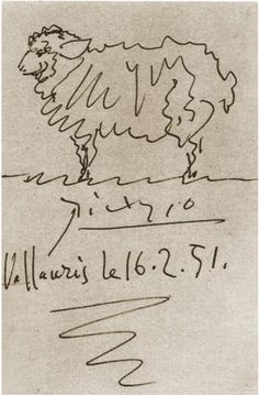 Even Pablo Picasso loved sheep! This is a beautiful sketch. Sheep by Pablo Picasso Pablo Picasso, Kunst Picasso, Art Picasso, Picasso Drawing, Painting & Drawing, Picasso Sketches, Cubist Movement, Sheep Art, Famous Artists