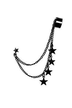 Black Star Ear Cuff I don't know if it's just the picture but it looks a little big. Emo Jewelry, Ear Cuff Jewelry, Grunge Jewelry, Star Jewelry, Black Earrings, Fantasy Jewelry, Chain Earrings, Gothic Jewelry, Cute Jewelry