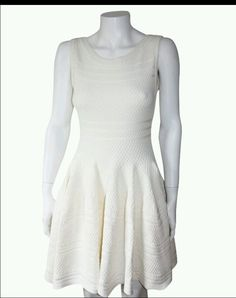 Alaia style Brocade textured white Sleeveless knit dress size Medium NWT #ebay #Cocktail