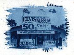 Elvis Is Alive Museum Cyanotype by FengShuiPhotography on Etsy, $24.99