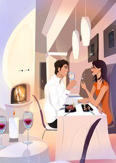 dinner for two - Vector Art Pin Up Illustration, Fashion Artwork, Cartoon Painting, Couple Art, Whimsical Art, Colour Schemes, Love Art, Female Art, Art Pictures