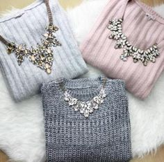 cute-knit-sweaters-with-necklaces-Statement necklaces with cozy sweaters http://www.justtrendygirls.com/statement-necklaces-with-cozy-sweaters/