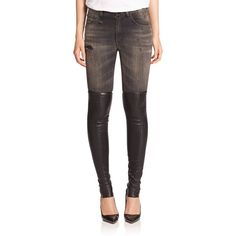 R13 Knee Chap Skinny Jeans ($840) ❤ liked on Polyvore featuring jeans, apparel & accessories, shredded black, denim skinny jeans, black ripped skinny jeans, black skinny jeans, destroyed jeans and skinny jeans