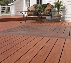Close up of two-tone TimberTech composite decking Timbertech Decking, Decking Fence, Wpc Decking, Composite Decking, Diy Wood Floors, Diy Flooring, Flooring Ideas, Wood Plastic, Modern Deck