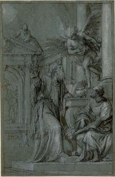 Paolo Veronese, 1528-1588, Italian, The Angel appears to Zacharias, 16th century.  British Museum, London.  Mannerism.