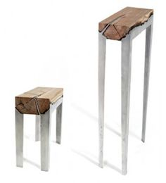 Taburetes de madera y aluminio fundido | Hilla Shamia