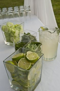 """To help guests keep their cool, we created a water bar. People could infuse their still or sparkling water with fresh limes, cucumbers, basil or thyme. Easy and interactive."""