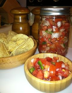 Fresh Salsa!! You can make this, even if you can't cook to save your life. Recipe on QuickWitMother.com. Fresh Salsa is so healthy and so hard to stop eating. Love it!