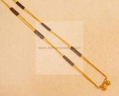 Gold Mangalsutra - Gold Long Chain Mangalsutra, 2 Lline Black Beads For Diamond Pendants, 22kt Chain Mangalsutra Thali