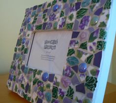 Sweet Violets Pique Assiette Photo Frame by PamelasPieces on Etsy, $40.00
