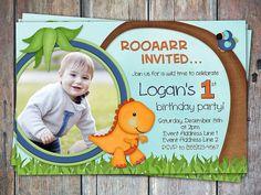 Adorable Dino Dinosaurs Birthday Invitation
