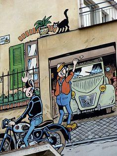 It's like a new world has been created Murals Street Art, 3d Street Art, Street Art Graffiti, Ligne Claire, Sidewalk Art, Amazing Street Art, Car Illustration, Automotive Art, Weird Art