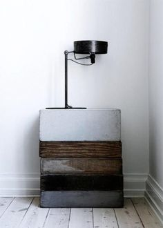stylish, graphic furniture from stacked vintage boxes by delia