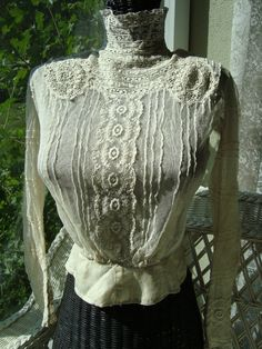 Lace Top from 1879 Clothing And Textile, Antique Clothing, Lace Blouses, Victorian Blouse, Thai House, Couture Ideas, Magnolia Pearl, Period Outfit, Romantic Lace