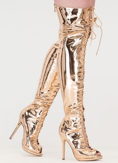 8246d65e40ad Gloss Over Lace-Up Thigh-High Boots ROSEGOLD SILVER GOLD BLACK