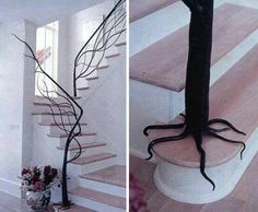 Tree trunk staircase rail - love it. Sweet idea...probs not practical