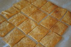 Wheat Thins  2 1/2 cups whole wheat flour  3 Tbs sugar  1 tsp. salt  1/2 tsp. paprika  8 Tbs. butter (1 stick)  1/2 cup water  1/2 tsp. vanilla