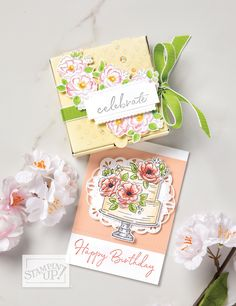 Paper Pumpkin Lovely Day – Learn techniques of card making & paper crafting with stamps Happy Birthday to You Sale-a-Bration Stamp Set Sample image Happy Birthday Cakes, Handmade Birthday Cards, Happy Birthday Wishes, Birthday Greetings, 21 Birthday, Sister Birthday, Cardmaking And Papercraft, Paper Pumpkin, Pumpkin Cards