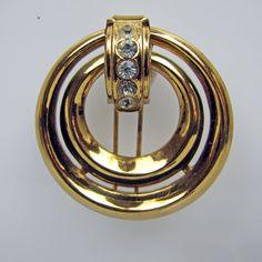 1920s CORO Art Deco Dress Fur Clip. Gold Double Circle Door Knocker Design Brooch. Clear Crystal Rhinestones. Early Coro Script Signature by MercyMadge on Etsy