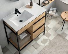 Vince staand badmeubel 85cm met geïntegreerde wastafel links Modular Furniture, Sink, Vanity, Table, Bathrooms, Design, Home Decor, Home, Metal Furniture
