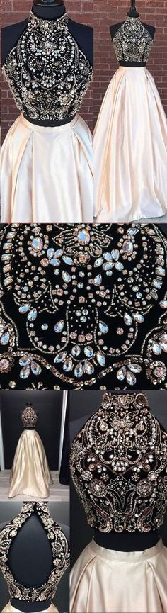 sparkly 2 piece prom dresses, open back prom dresses Open Back Prom Dresses, Hoco Dresses, Dance Dresses, Homecoming Dresses, Pretty Dresses, Beautiful Dresses, Prom Gowns, Pretty Clothes, 2 Piece Prom Dress
