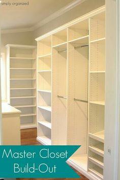 Walk in Closet Layout found at SimplyOrganized - Melamine White Shelf Drilled Board