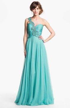 Sherri Hill One Shoulder Embellished Chiffon Gown