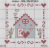 Lovely little cross stitch house Cross Stitch House, Cross Stitch Heart, Cross Stitch Cards, Cross Stitch Borders, Cross Stitch Samplers, Cross Stitch Designs, Cross Stitching, Cross Stitch Embroidery, Embroidery Patterns