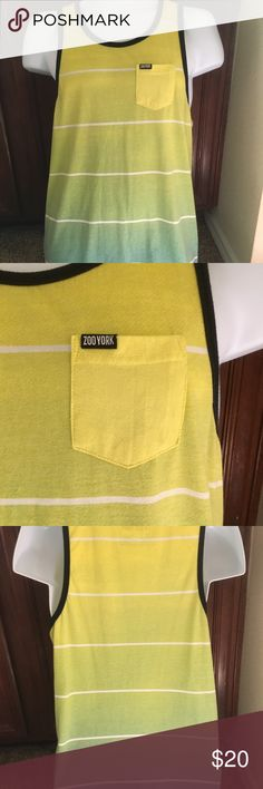 Zoo York Blue Green Ombré Muscle Tank, Size M Zoo York Blue Green Ombré Muscle Tank, Size M. Light green, blue, yellow with black trim and white stripes Zoo York Shirts Tank Tops