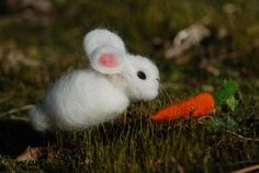Easter Needle Felted Bunny With Carrot 1 by BondurantMountainArt