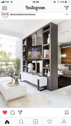 Trendy ideas for diy room dividers small apartments interior design Living Room Partition Design, Living Room Divider, Room Partition Designs, Diy Room Divider, Room Dividers, Home Room Design, Living Room Designs, Small Apartment Interior, Muebles Living