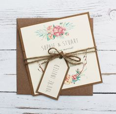 Custom Floral Wedding Save The Date Card Rustic by FreddyandFreja