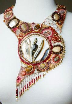 Beautiful embroidered jewelry by PaintedWithBeads | Beads Magic