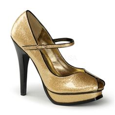 Hot For Heels And More - Pin Up Couture By Pleaser Gold Pearlized Glitter Patent - Peep toe Mary Jane shoe. Patent Heels, Platform Stilettos, Stiletto Pumps, Platform Shoes, Couture Heels, Pinup Couture, Sparkly Pumps, Glitter Pumps, Gold Pumps