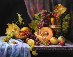 Zbigniew Kopania — Still Life Fruit Painting, Oil Painting Abstract, Watercolor Art, Painting Art, Colour Pencil Shading, Still Life Fruit, Autumn Scenes, Fruit Art, Arte Floral