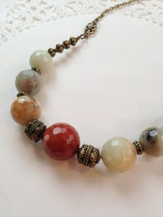 Red Gray Brown Faceted Amazonite Necklace by ParkerRockJewelry, $45.00