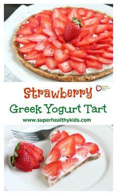 Strawberry Greek Yogurt Tart. This strawberry greek yogurt tart is secretly healthy and can be eaten for breakfast or dessert. Perfect for Valentine's day too! www.superhealthykids.com/strawberry-greek-yogurt-tart