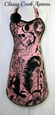 Apron After Dark SKULLS Black & PINK, Steampunk Goth, by ClassyCookAprons, $36.50