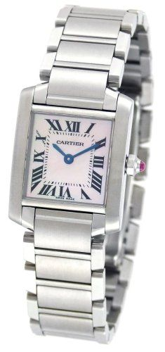 Cartier Women's W51028Q3 Tank Francaise Pink Mother of Pearl Watch. Buy latest best womens luxury watch http://www.squidoo.com/best-luxury-watches-for-women-top-10