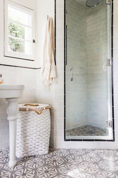 Nice & Neutral Modern bathrooms look great when styled with charming accessories and unique home décor. Achieve this look in your master bathroom suite makeover with a little help from this eclectic design inspiration—patterned tile and all! Tiny Bathrooms, Upstairs Bathrooms, Laundry In Bathroom, Master Bathroom, Bathroom Cabinets, Bathroom Mirrors, Remodel Bathroom, Bathroom Makeovers, Downstairs Bathroom