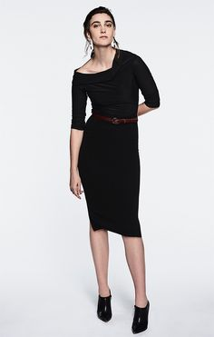 fe057134e8c Pencil knee length textured jersey slim fit skirt in black