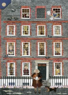 Dr Johnson, his House in Gough Square and his Cat, Hodge. Cut paper collage by Amanda White. www.amandawhite-contemporarynaiveart.com