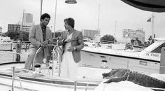 Happy Miami Vice Friday!!! When not chasing drug barons in the Testarossa Crockett and Tubbs took to the water in a sleek cigarette boat. Remember the opening credits and Jan Hammers theme? And throughout the series Sonny Crockett lived on a boat. For the pilot he made his home on a Cabo Rico 38 sailboat to be replaced by an Endeavour 40 and later the 42 model. The speedboat was a Wellcraft 38 Scarab KV (why all the vessels were named 'The St. Vitus' Dance' remains a mystery). Ah yes Elvis…