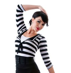 Women's Rock Steady Clothing Savvy in Stripes Nautical Sailor Girl Top with Tie Front & Middy Back